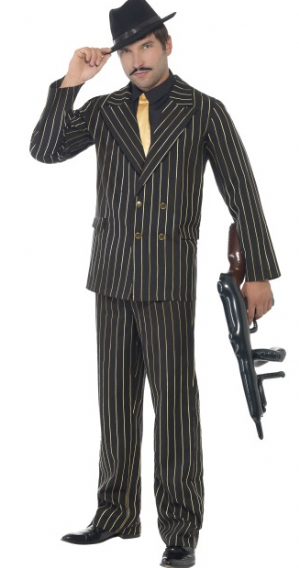 Gold Pinstripe Gangster Suit Plus Size Costume